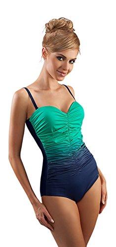 Versatile Costume Itero con Increspatura frontale e Coppe Rigide Blu Navy/Menta