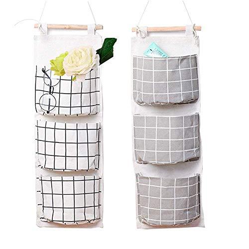 Afufu 2 sacca portaoggetti appesa, con 3 tasche, portaoggetti in lino da appendere alla porta, organizzatore multiuso impermeabile per casa ufficio del bagno della camera