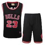Wo nice Toro # 23 Michael Jordan Uniformi da Basket Traspirante Veloce Asciugatura Fan Sportswear Maglie Sportive Pantaloncini Sportivi,Black,S165cm53kg