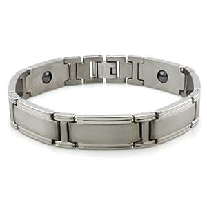 """Titane satiné / High Polish Bracelet magnétique classique 8.5 """""""