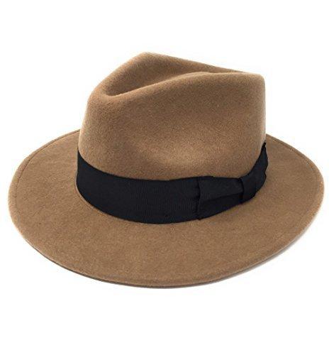 Herren Handgefertigt 100% Wollfilz Indiana Style Knautschfähig Fedora Hut - Kamel, Large - (Hut Kamel)