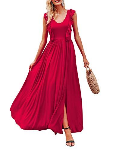 MsLure Damen Weihnachten Kleid Elegant Lang Volant Schlitz Maxi Sommerkleid Vestidos Party Dress Rot, S/36, Rot
