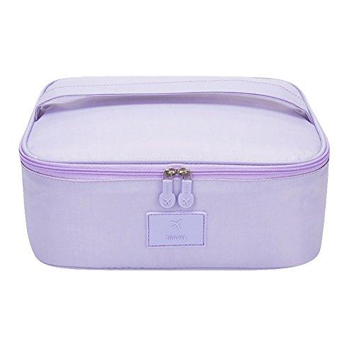 PU Ran Voyage Portable étanche femme Maquillage Cosmétique Sac pochette de rangement organiseur violet violet