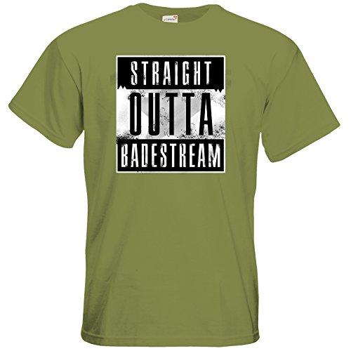 getshirts - Badeschlappen Shop - T-Shirt - Straight Outta Badestream Green Moss