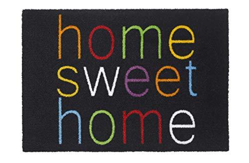 Premium Fußmatte | Sauberlaufmatte für Eingangsbereiche | Fußabtreter | Schmutzfangmatte waschbar in 4 modernen Design als Türvorleger innen und außen | bunt | 50x70cm (Home Sweet Home)