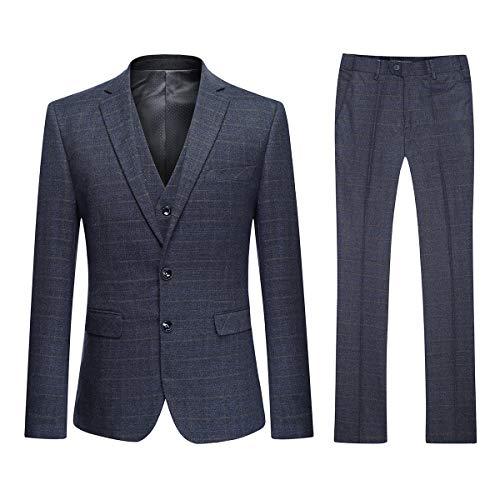 YOUTHUP Herren Anzug kariert 3 Teilig Retro Vintage Design Anzugjacke Weste Anzughose Slim Fit (XL, Grau(2 Knopf)) -