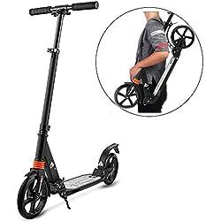 Eloklem 195mm Scooter Trottinette City-Roller Pliable et réglable en Hauteur avec Grande Roues pour Adultes et Adolescents (Noir)