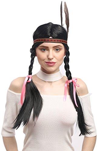 Wig me up ® - wg-7001-za103 parrucca donna nero carnevale indiano indiana squaw lunghe trecce fascetta piuma 60 cm