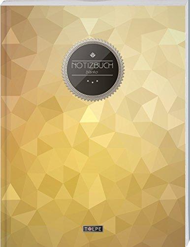 """TULPE Blanko Notizbuch A4 """"C120 Dreiecke"""" (140+ Seiten, Vintage Softcover, Seitenzahlen, Register, Weißes Papier - Dickes Notizheft, Skizzenbuch, Zeichenbuch, Blankobuch, Sketchbook)"""