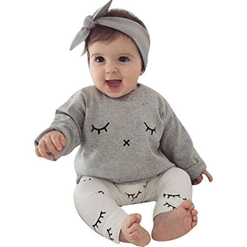 MEIbax Baby Jungen Mädchen Nette Wimpern Print T-Shirt Tops + Hosen Outfits Kleidung,Winter Pullover Hoodies Sweatshirts Babykleidung