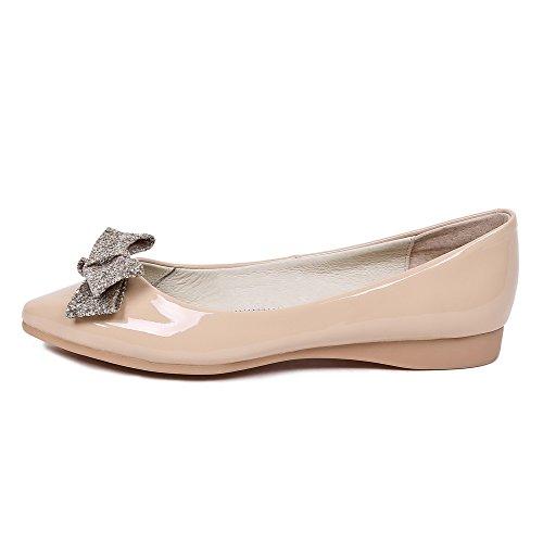 VogueZone009 Femme Pu Cuir à Talon Bas Pointu Couleur Unie Tire Chaussures Légeres Abricot