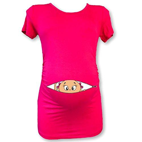 T shirt maglia premaman mezza manica bimba che esce dalla zip ciclamino l manica corta