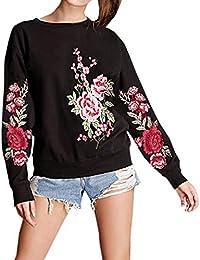 JackenLOVE Printemps et Automne Sweat-Shirts Femmes Fashion Broderie  Pullover Hauts Blouse Sweaters Casual Col 06ce691c8006