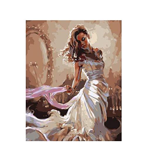 WLKJ Boutique Kleid Mädchen DIY Malen Nach Zahlen Abstrakte Bella Ölgemälde Auf Leinwand Acryl Wandkunstausgangsdekor, 40X50cm