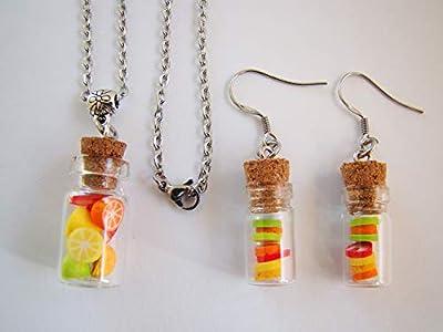 coffret cadeau collier et boucles d'oreilles salade de fruits fimo bijoux femme enfant