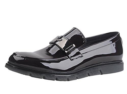 Insun Herren Lackleder Boot Halbschuhe Schuhe Schwarz