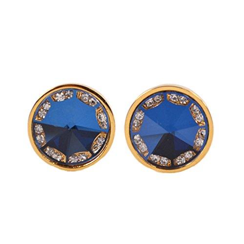 MagiDeal Elegante Manschettenknöpfe Manschetten Cufflinks Rund Form Blau Gold
