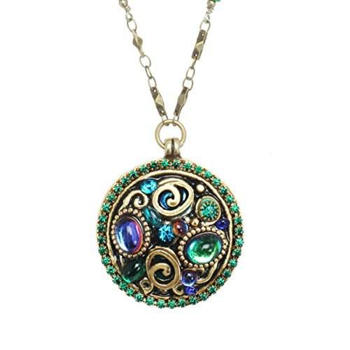 Michal Golan Blue Green Mix Swarovski Mosaic Medallion Pendant Goldtone Necklace