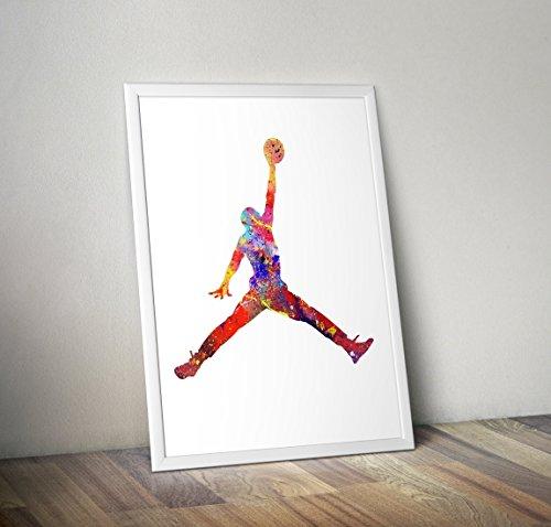 Michael Jordan Inspiré aquarelle -Jump Man Affiche - Autres tirages TV / Film en différentes tailles (Cadre non inclus)