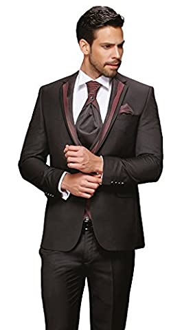 Herren Anzug - 8 teilig - Schwarz Bordeaux/Grau Designer Hochzeitsanzug TOP ANGEBOT NEU PC_17 (46, Schwarz/Bordeaux)