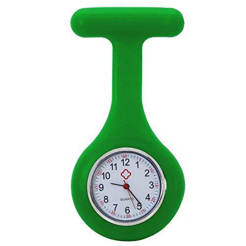 tumundo Schwestern-Uhr Puls Anstecknadel Kittel Brosche Silikon-Hülle Quarz Damen-Schmuck Krankenschwester Pfleger-Uhr, Farbe:grün (Krankenschwester-nadel)
