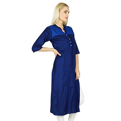 Bimba Rayon personnalisé Bleu Hétéro Kurti Pintex Blouse Indien ethnique Top Bleu marin