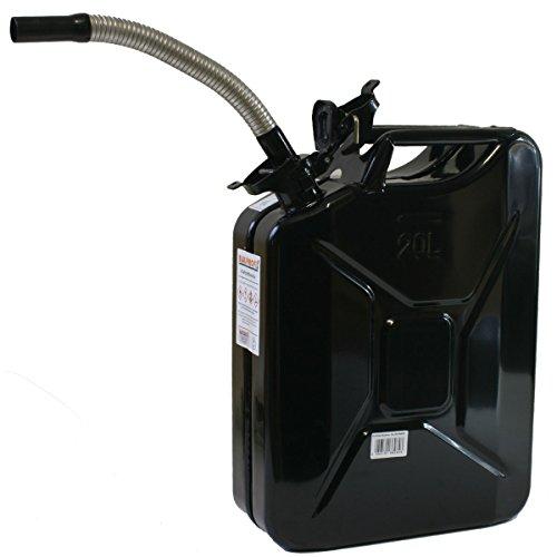 Stahlblechkanister schwarz 20 Liter + Dieselauslaufrohr flexibel Benzinkanister Set
