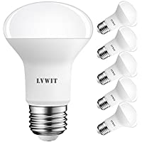 LVWIT Bombillas Reflectora LED E27 (Casquillo Gordo) - 6W equivalente a 60W, 550 lúmenes, Color blanco cálido 2700K, No regulable - Pack de 6 Unidades.