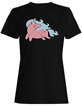 Feliz Unicornio camiseta de las mujeres j942f