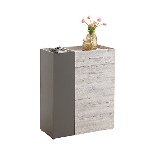 Unbekannt FMD Möbel Alan 1 Garderobenkommode, Holz, sandeiche/Lava, 80 x 38 x 100 cm