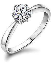 Yoursfs anillos para mujer chapado en oro blanco 18k zircón modelo clásico