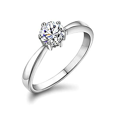 Yoursfs 18ct White Gold Plated Engagement Diamond Solitaire Rings Women Promise Rings for Her Austrian Crystal Fashion Jewellery