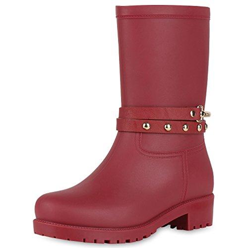 SCARPE VITA Damen Stiefel Blockabsatz Gummistiefel Leder-Optik Schuhe Nieten 150942 Dunkelrot 37