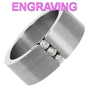 So Chic Jewels - Mens Stainless Steel 3 Cubic Zirconia Modern Band Ring - Your Message Engraved Free