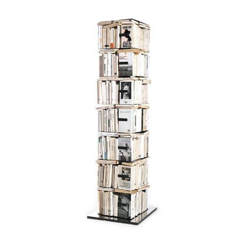 Opinion Ciatti Ptolomeo X4 B Büchersäule, schwarz Fuß Edelstahl poliert H197cm, 7 Regalböden