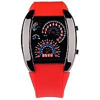 Lemumu Versión LED panel coche promocionales Ver hombres Deportes sector aviación muñeca LED Reloj,rojo