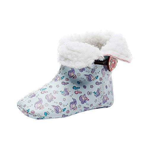 Oyedens Neugeborene Kleinkind Baby Mädchen Floral Print Winter warme Stiefel erste Wanderer SchuheWinterschuhe Baby Plus warme Socken aus Samt Blumendruckknopfbaby-Schneestiefel