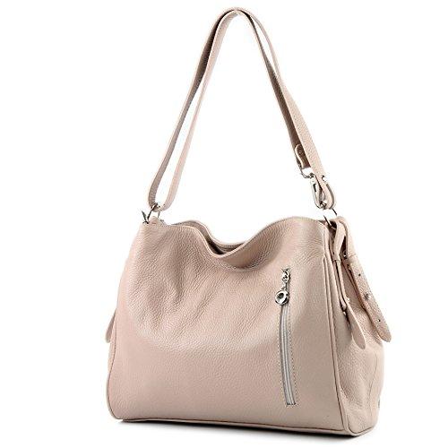 modamoda de - ital. Ledertasche Damentasche Umhängetasche Tasche Schultertasche Leder T119 Rosabeige
