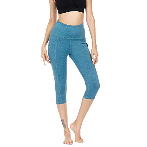 WateLves Damen Hohe Taille Sport Hose 3/4 Yoga Leggings Capri mit Tasche Jogginghose Stretch Workout Fitness(Hellblau, XL)