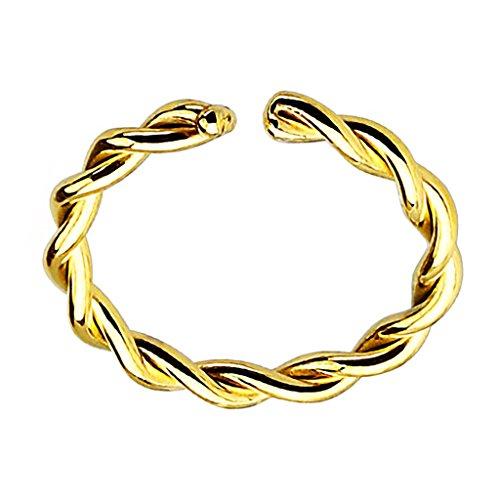 Piersando Fake Piercing Klemm Hoop Ring Klemmring Gedreht für Septum Tragus Helix Nase Lippe Ohr Intim Nippel Augenbraue Brust Hufeisen Gold IP 0,8mm x 10mm