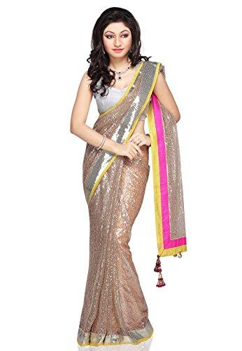 Utsav Fashion Women's Beige Shimmer Net Saree with Blouse