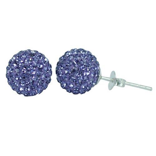 Chic-Net Glitzerkugel Amethyst lila 10 mm Kristall Silberohrstecker Ohrstecker 925er Silber Damen Glitzer