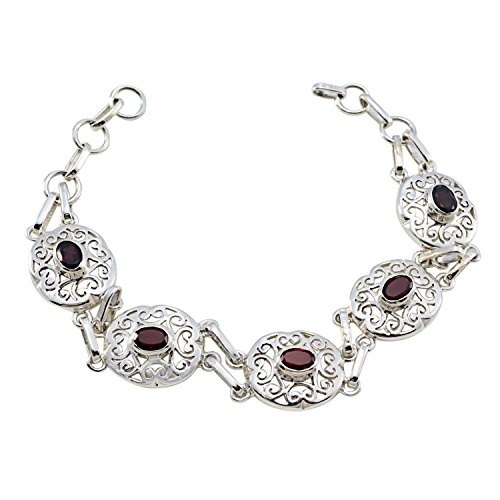 Sterling Silber Rot Granat facettiert Good Edelsteine Armband–Ledies Schmuck Verkauf Gegenstände Geschenk für Cyber Montag Brautjungfer
