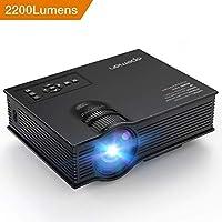 APEMAN Proyector, Multimedia Vídeo Proyector LCD, con 2200 Lúmenes 1080P HD Video e IR USB SD Entrada (Negro)