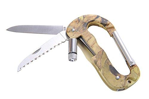 Huntington Karabiner mit Messer, Säge und Taschenlampe, Camouflage, A08 (DE)