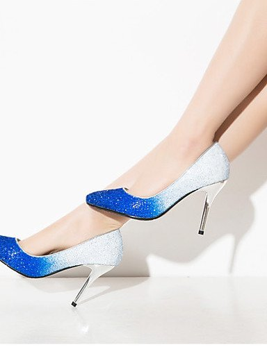 ShangYi Damenschuhe - High Heels - Hochzeit / Party & Festivität / Kleid - Kunststoff / Glanz - Stöckelabsatz - Absätze / Spitzschuh -Blau / golden
