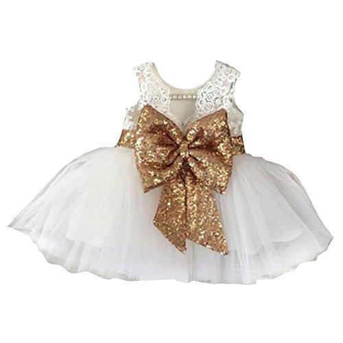 hibote Mädchen Bowknot Spitze Prinzessin Rock Sommer Sequins Kleider für Baby Kleinkinder Kinder 0-5 Jahre alt weiß / 0-1Jahre (Spitze-blumen-mädchen-kleid Princess)