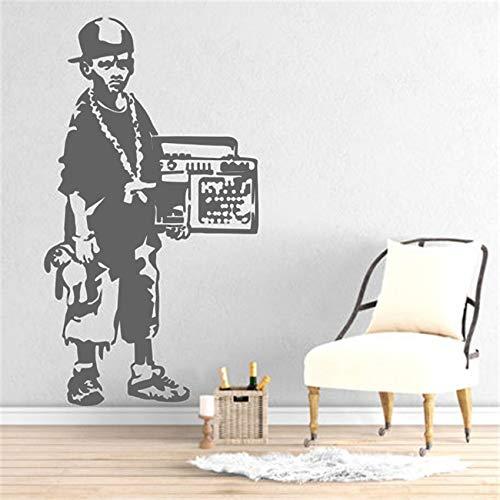jiuyaomai Street Art Graffiti Camera da Letto Cucina Hip Hop Ragazzo Decorazioni per la casa Rimovibile Cartone Animato Soggiorno Adesivo da Parete in Vinile 1 42x77 cm