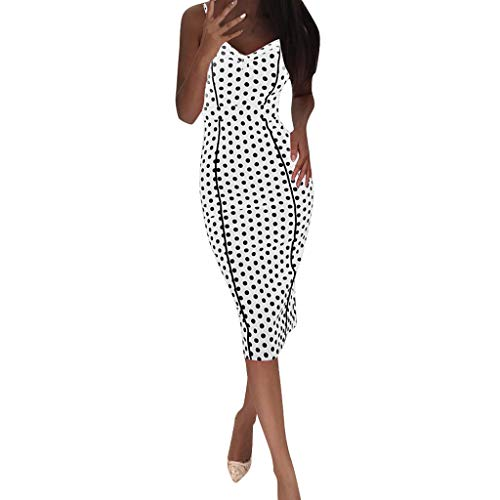 Damen Bodycon Kleid Elegant Maxikleid Bleistift Enges Kleid Lang Abendkleid Kleider Sling Partykleid Strandkleid Festliches Kleid Sommerkleid Cocktailkleid Polka Dot Vintage Wickelkleid