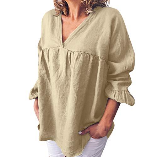 l T-Shirt große größen Halbe Ärmel V-Ausschnitt solide aushöhlen Böhmen Lässige Lose Pullover Bluse Tops Hemd Tunika(S17-Beige,EU-42/CN-XL ()